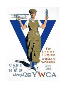For Every Fighter a Woman Worker War Effort Poster by Adolph Triedler