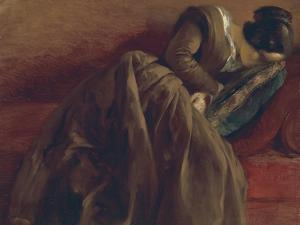 Emilie, the Artist's Sister, Asleep, about 1848 by Adolph von Menzel