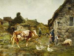 The Farmyard by Adolphe Charles Marais