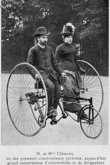 Adolphe Clement and His Wife on a Tricycle--Photographic Print