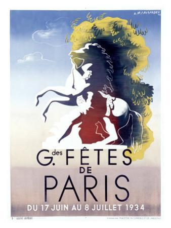 Grandes Fetes de Paris by Adolphe Mouron Cassandre