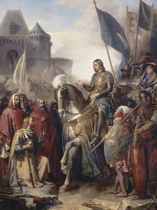 Le dauphin Charles (futur Charles V) rentrant au Louvre après l'assassinat d'Etienne Marcel et la by Adolphe Roger