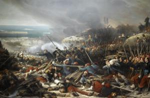 Episode du siège de Sébastopol pendant la guerre de Crimée en 1855, gorge de Malakoff by Adolphe Yvon