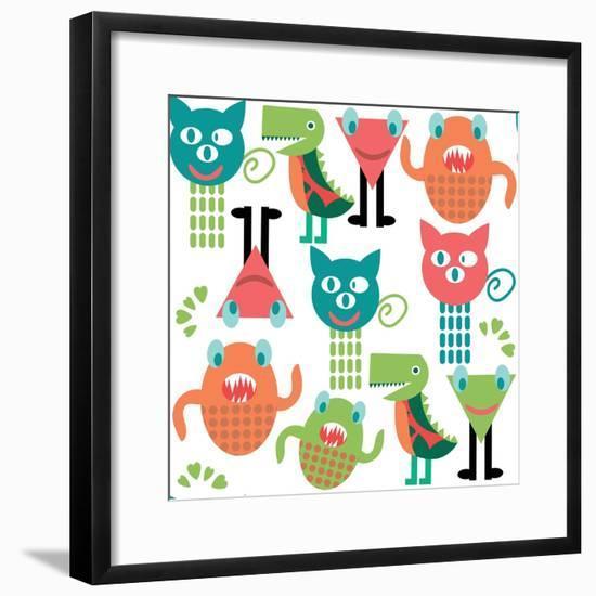 Adorable Abstract Monster Pattern-Luizavictorya72-Framed Art Print