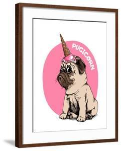 Adorable Beige Puppy Pug in a Ice Cream Party Cap on a Pink Background. Pugicorn - Lettering Quote.