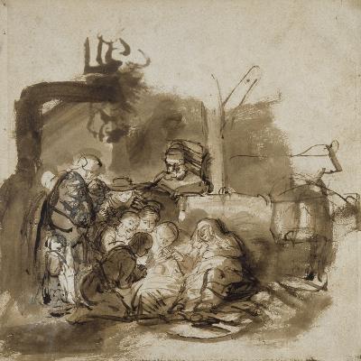 Adoration des bergers-Rembrandt van Rijn-Giclee Print