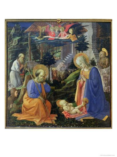 Adoration of the Child with Ss. Hilary, Jerome, Mary Magdalene and Angels-Fra Filippo Lippi-Giclee Print