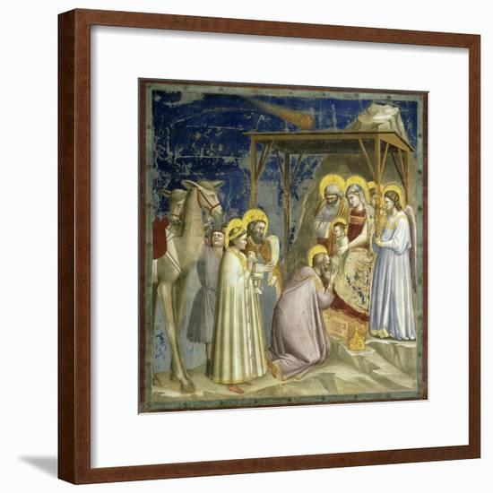 Adoration of the Kings, c.1303-10-Giotto di Bondone-Framed Giclee Print
