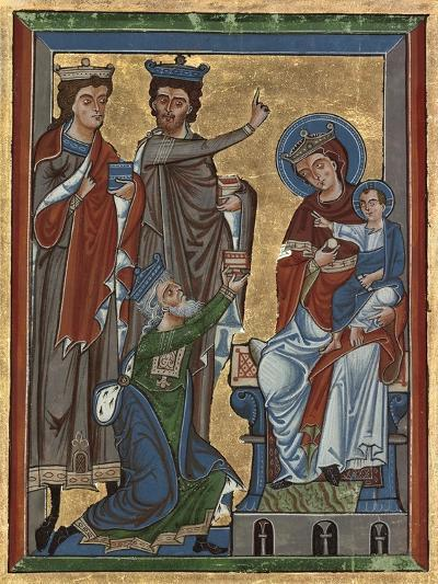 Adoration of the Magi from Psalter Ms 4, c.1240-German School-Giclee Print