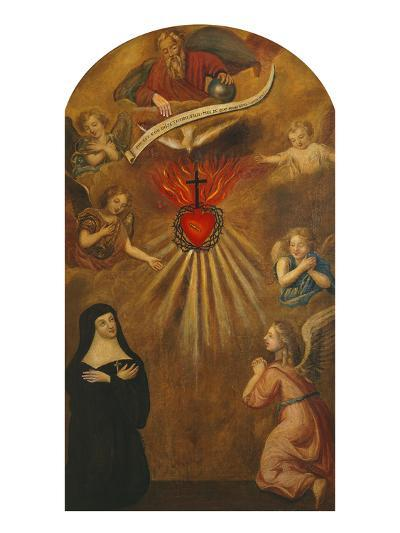 Adoration of the Sacred Heart of Jesus by Margaret Mary Alacocque, 1647-90, and an Angel, 1715-French School-Giclee Print