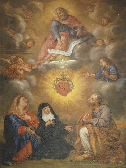 Adoration of the Sacred Heart of Jesus by the Angels, Mary and Joseph and Margaret Mary Alacocque-French School-Giclee Print