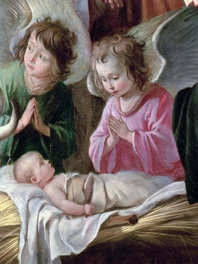 Adoration of the Shepherds, Detail of the Angels and Child, circa 1638-Antoine & Louis Le Nain-Giclee Print