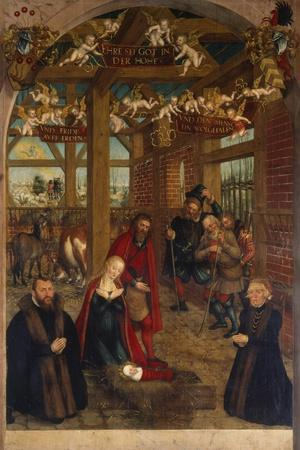 Adoration of the Shepherds, Epitaph for Caspar Niemeck, 1564-Lucas Cranach the Younger-Giclee Print