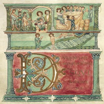 Adoring the Magi, Wedding at Cana and Baptizing Christ, Miniature from Liber Sacramentorum--Giclee Print