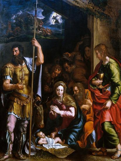 Adotation of the Shepherds with the Saints Longinus and John the Evangelist-Giulio Romano-Giclee Print