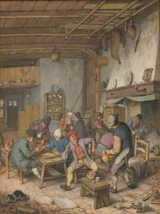 Room in an Inn with Peasants Drinking, Smoking and Playing Backgam, 1678 by Adriaen Jansz van Ostade