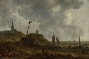 Beach at Katwijk, Many People Move Between the Fishing Boats by Adriaen van der Kabel