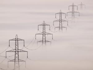 National Grid Pylons In the Mist by Adrian Bicker