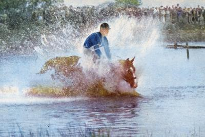 Adriano Facchini and His Horse Participating in the Pentathlon at the 1956 Melbourne Olympics--Photographic Print