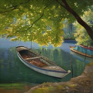 Barca sul fiume by Adriano Galasso