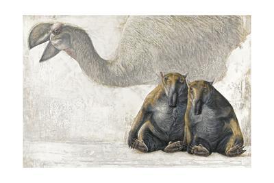 A Stirton's Thunderbird and Pair of Marsupial Tapirs