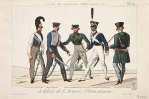 Soldiers of the Prussian Army, Army of the Allied Sovereigns, 1815 by Adrien Pierre Francois Godefroy