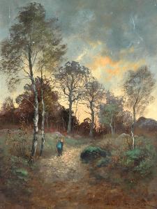 Figure Walking through a Woodland by Adrien Rousseau