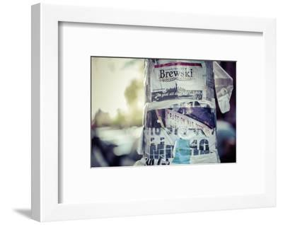 Ads and stickers on a lamp post, streetview, Manhattan, New York, USA-Andrea Lang-Framed Photographic Print