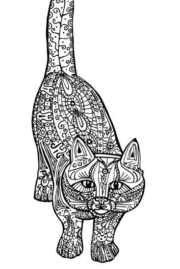 Adult Antistress Coloring Illustration Painted The Cat Black And White Image Hand Drawn Doodle E Art Print By Alena Che Art Com