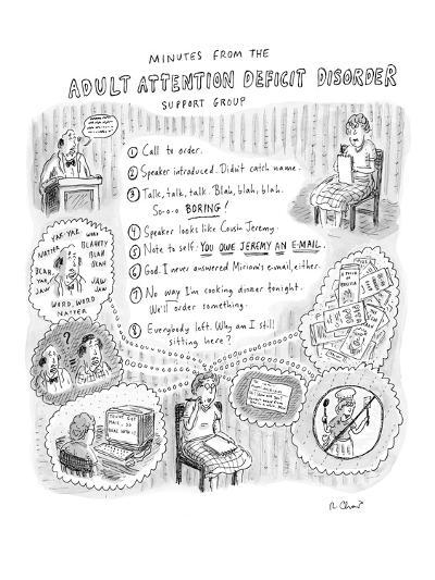 """Adult Attention Deficit Disorder"" - New Yorker Cartoon-Roz Chast-Premium Giclee Print"