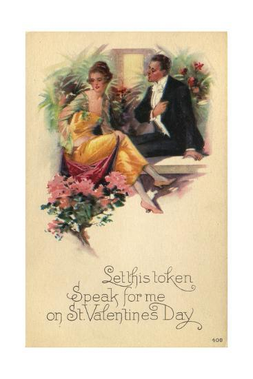Adult Couple Sitting on Bench Talking with Flowers in Background--Art Print