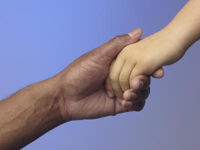 Adult Holding Child's Hand--Photographic Print