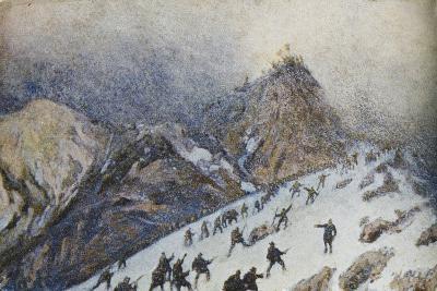 Advanced on Col Di Lana, Italian Propaganda Postcard-Tommaso Cascella-Giclee Print