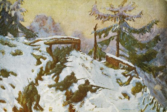 Advanced Trenches, Quota Taround, Soldiers in the Trenches, Italian Propaganda Postcard-Tommaso Cascella-Giclee Print