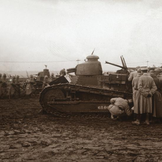 Advancing with tanks, c1914-c1918-Unknown-Photographic Print