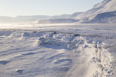 Adventdalen Valley, Frozen Sea Ice of Adventfjorden (Advent Bay), Svalbard-Stephen Studd-Photographic Print