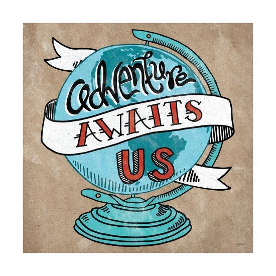 Adventure Love Globe Taupe-Mary Urban-Art Print