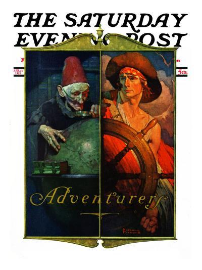 """""""Adventurers"""" Saturday Evening Post Cover, April 14,1928-Norman Rockwell-Giclee Print"""