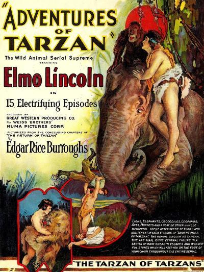 Adventures of Tarzan, Elmo Lincoln, 1921--Art Print