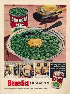 Advert for Benedict Processed Peas, 1951