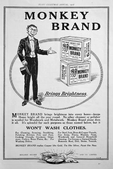Advert for Brooke's Monkey Brand Soap, 1918--Giclee Print