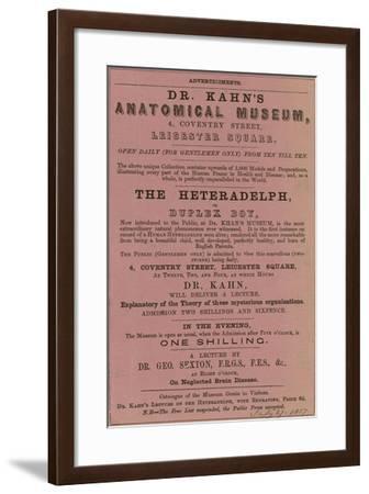 Advert for Dr Kahn's Anatomical Museum--Framed Giclee Print