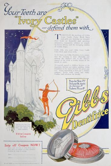 Advert for Gibbs Solid Dentifrice, 1922--Giclee Print