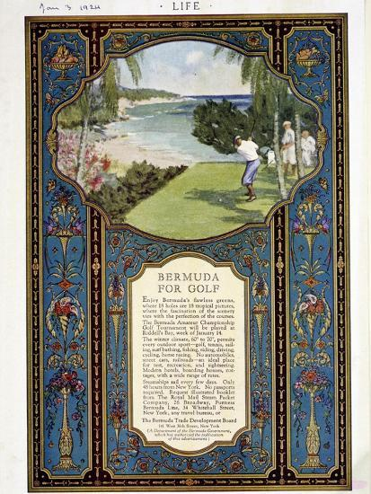 Advert for golf courses in Bermuda, January 3rd 1924-Unknown-Giclee Print