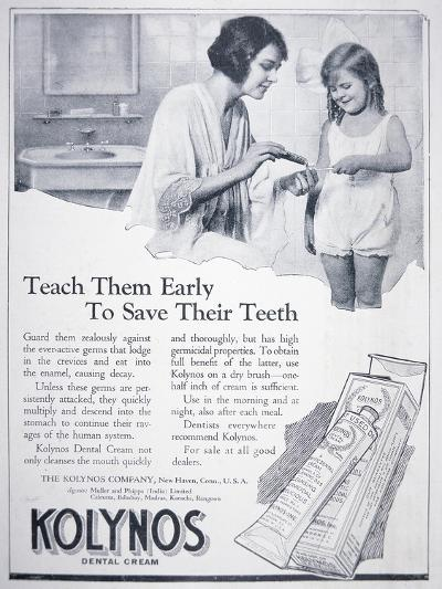 Advert for Kolynos Dental Cream, 1922--Giclee Print