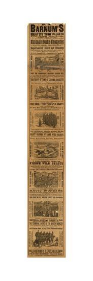 Advert for P T Barnum's Greatest Show on Earth--Giclee Print