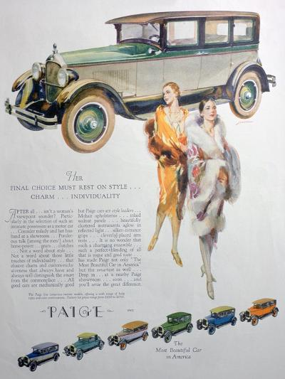 Advert for Paige Motor Cars, 1927--Giclee Print