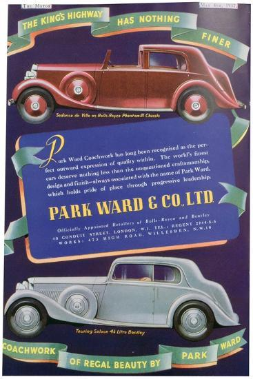 Advert for Park Ward and Co Car Coachwork, 1937--Giclee Print
