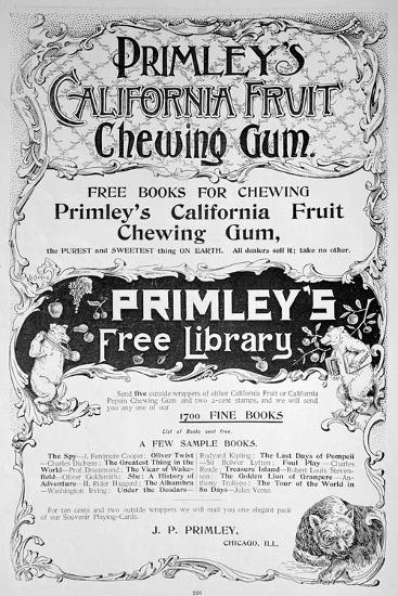 Advert for Primley's California Fruit Chewing Gum, 1894--Giclee Print