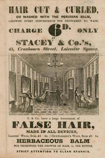 Advert for Stacey and Co.'s, 45 Cranbourne Street, Leicester Square, London, Hair Dressers--Giclee Print